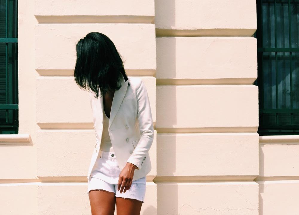: Zara Wedges w/ Cross Straps in Gold, Double-Breasted Cream Blazer (similar), Madewell White Denim Shorts. on claire leana millar