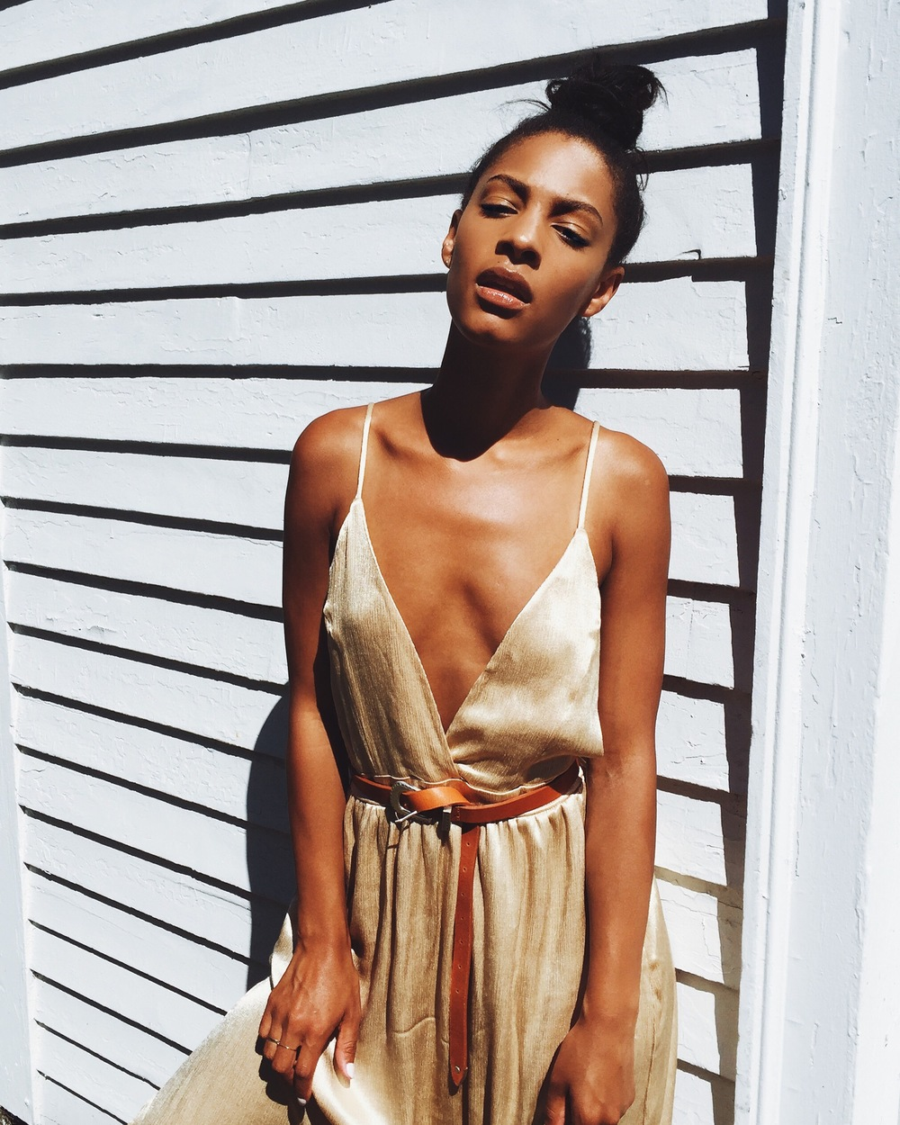 Blogger Claire Leana Millar in Nasty Gal After Party Vintage Rush Satin Maxi Dress