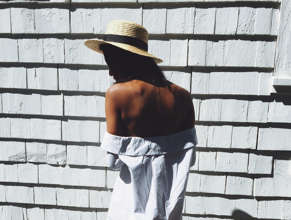 Givenchy Logo Rubber Slide Sandal in Black, Pixie Market White Strappy Off The Shoulder Dress  Lack of Color Boater Hat on Fashion Blogger Claire Leana Millar