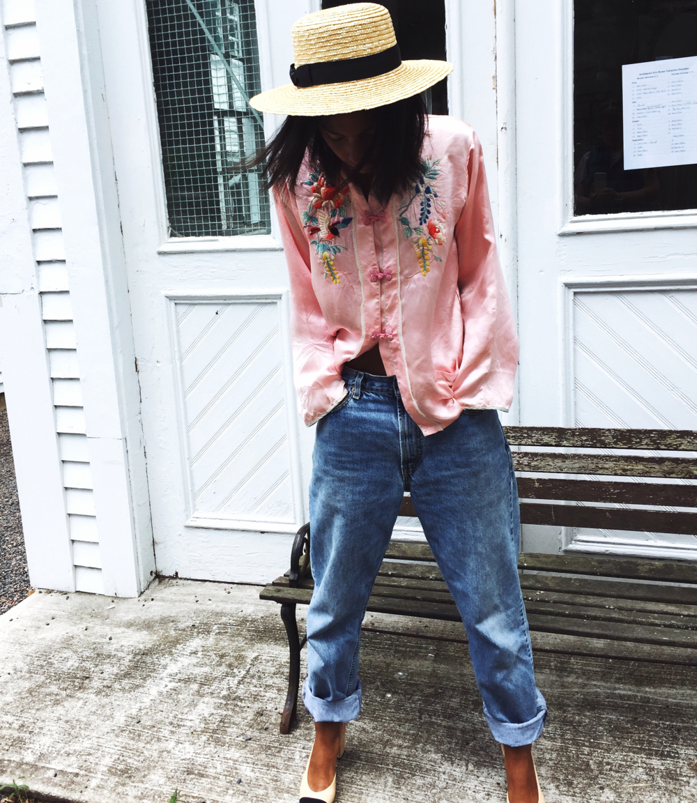 fashion blogger Claire leana millar wearing Pink Vintage Silk PJ Top, Mens Levis Jeans, Chanel Slingbacks, Lack of Color The Spencer Boater Hat
