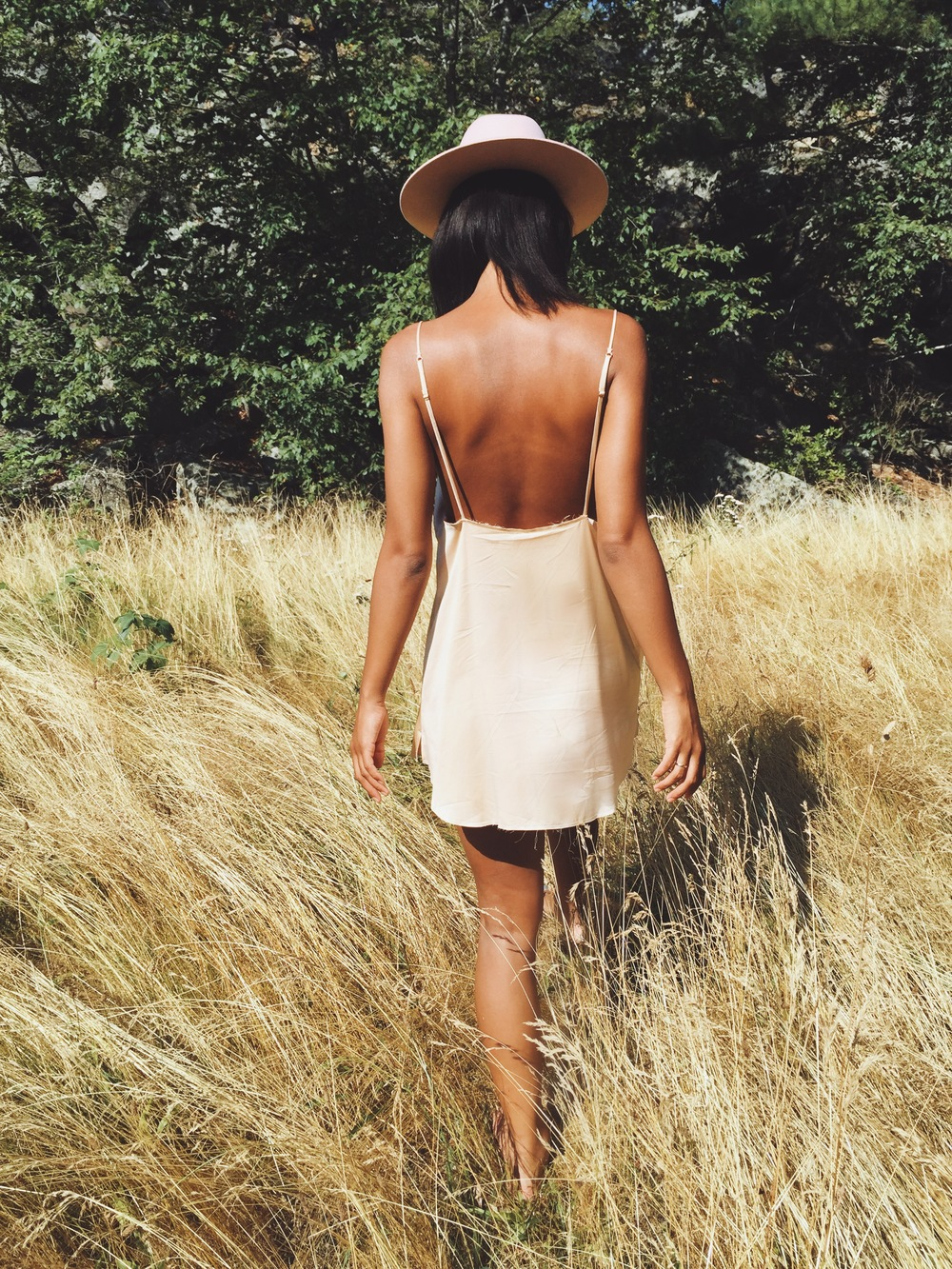 Claire leana millar wearing the Are You Am I Zillah Slip in Blush & Lack of Color Stardust Fedora