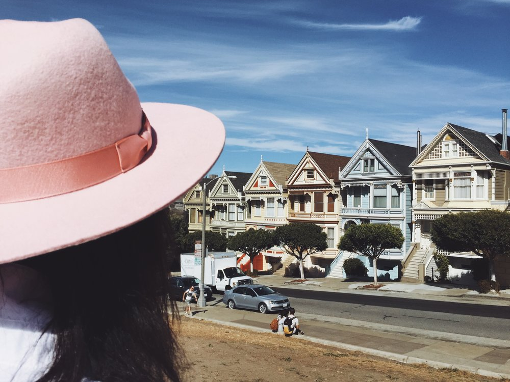 The painted ladies in San Fran Claire Leana Millar in Pink Fedora