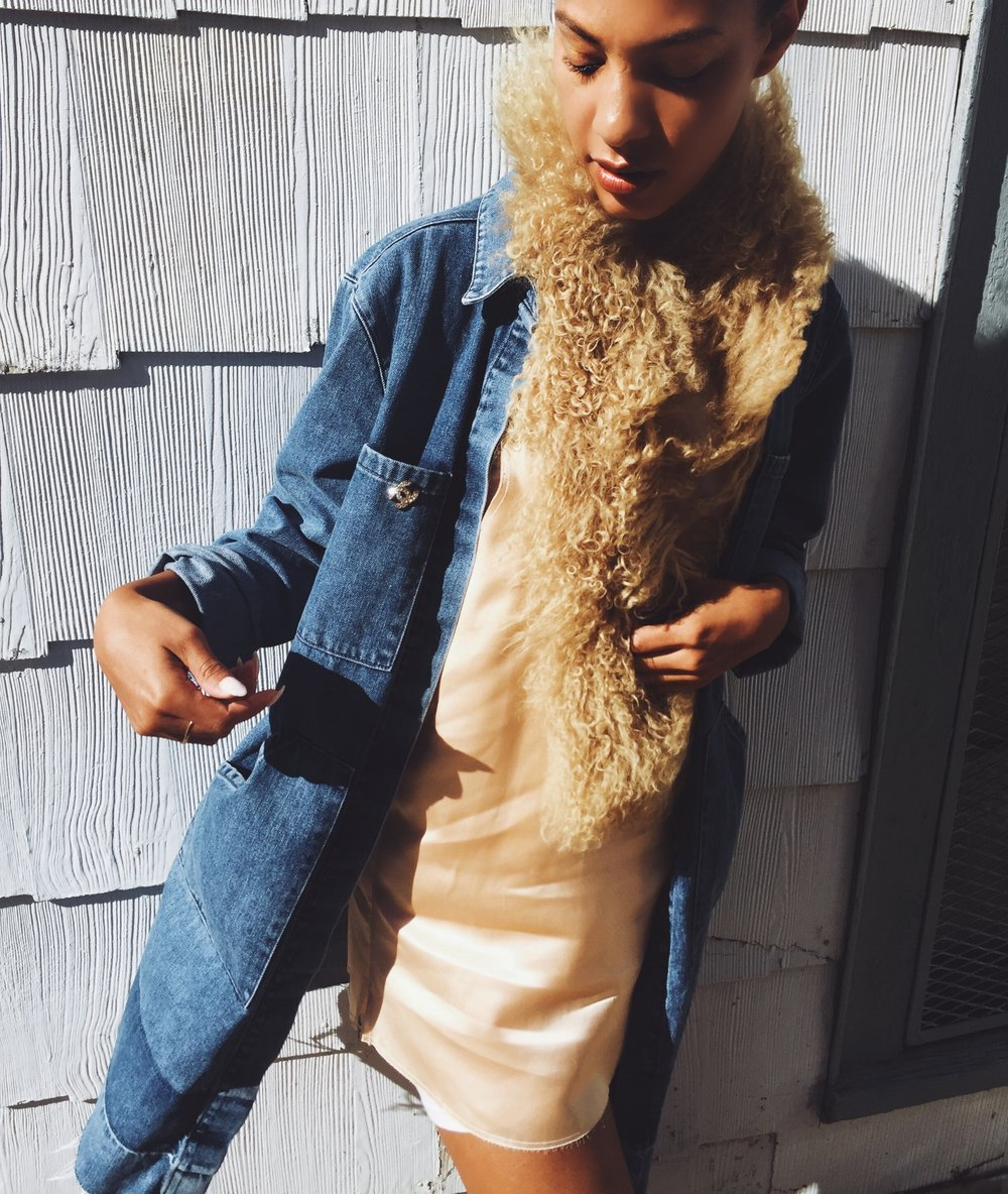 Claire leana Millar wearing Asos Denim Duster Coat, Vintage Chanel Pin,Tan Shearling  Stole, Are You Am I Zillah Dress