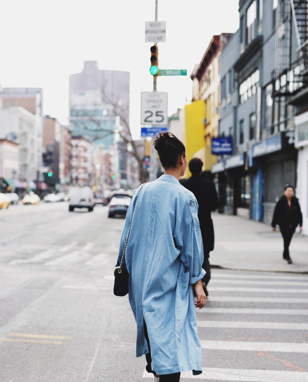 Claire Leana Millar Blue Duster Coat