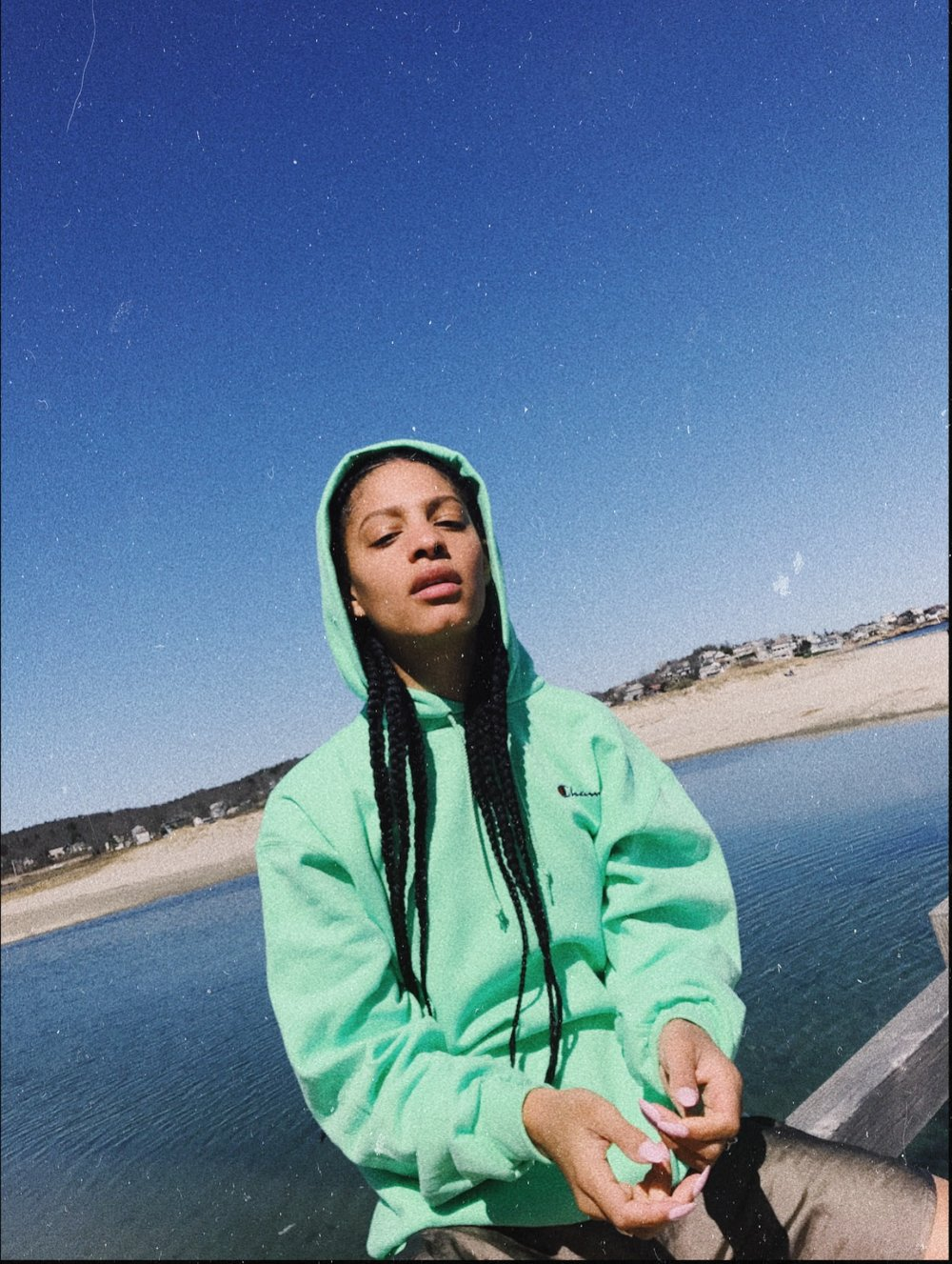 Neon Champion Hoodie on Claire Leana Millar