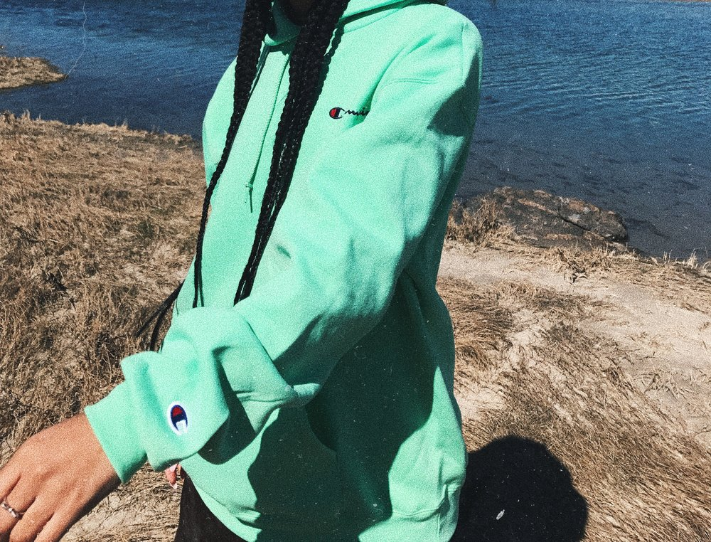 Claire Leana Millar in a Neon champion hoodie