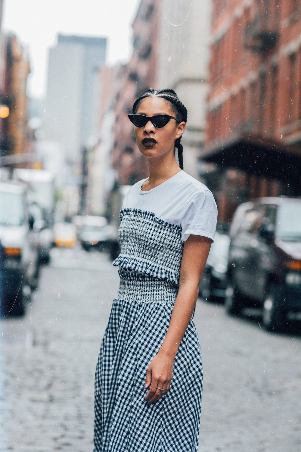 Claire Leana Millar in Soho wearing a full gighim outfit + Adam Selman & Le Specs