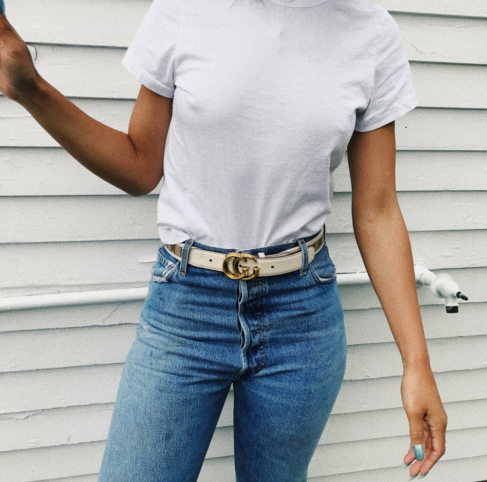 Claire Leana Millar wearing the Ultra High Waisted Denin and Gucci Belt, with a white tee