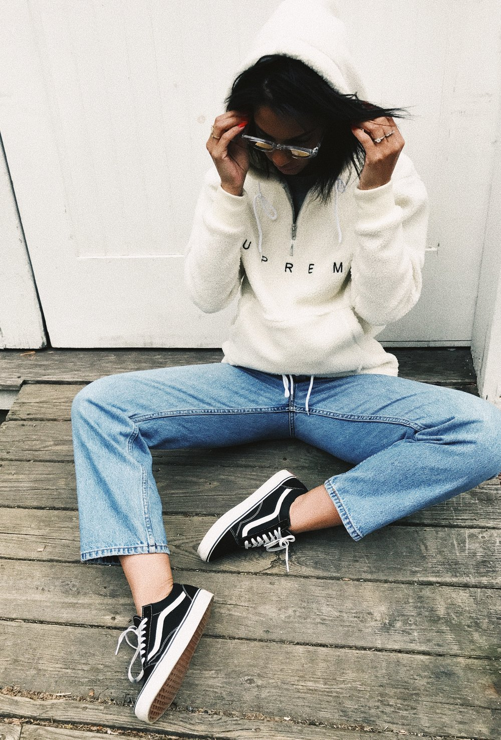 Claire Leana Millar in Supreme Mock Fleese Hoodie, Vans Classic, and Vintage Levis