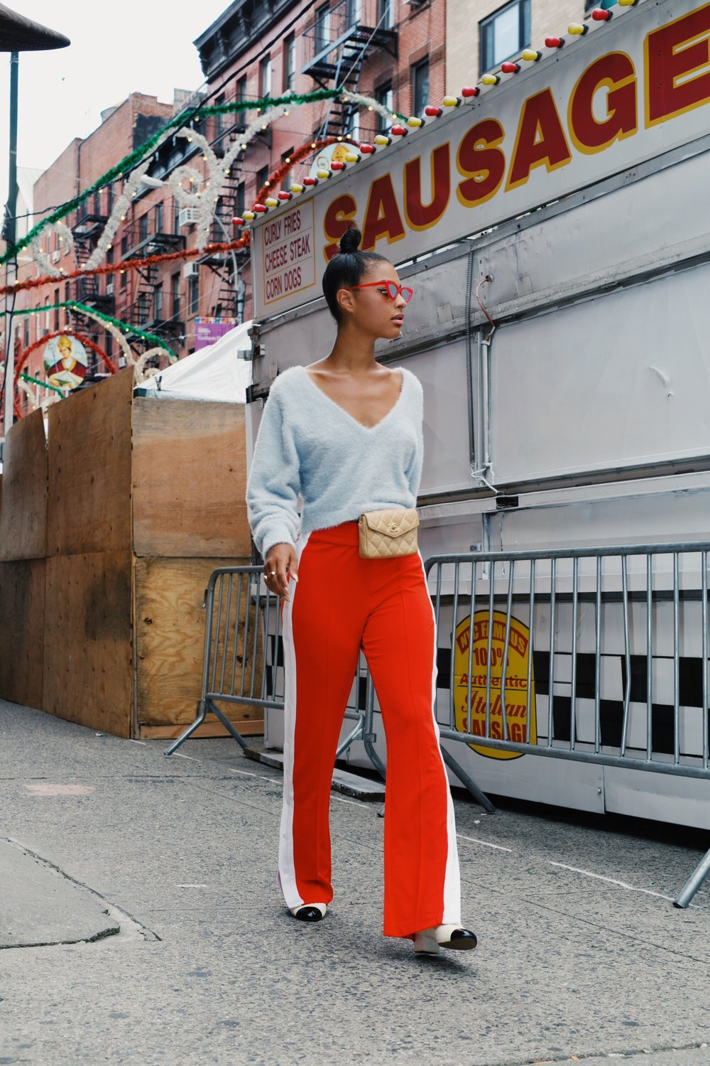 Claire Leana at an Italian Carnival Nolita NYC during NYFW SS18 Street Style
