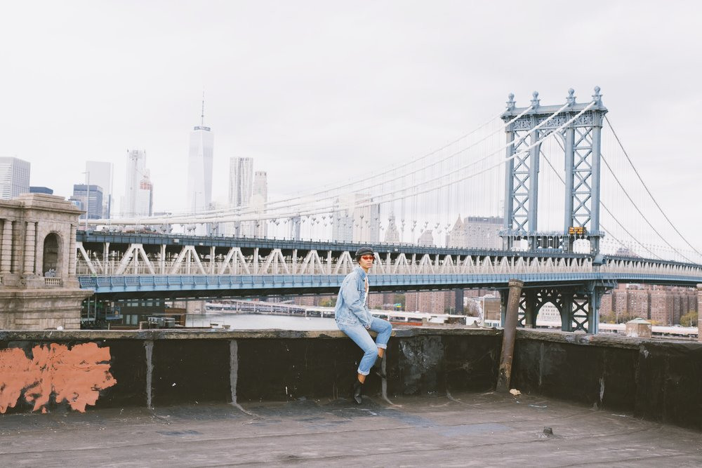 Claire Leana Millar in a Canadian tuxedo in Dumbo Brooklyn