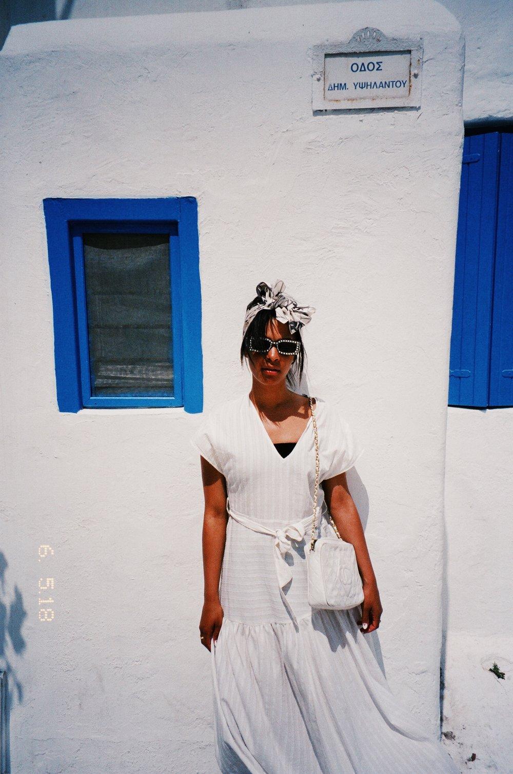 Wearing Zara Dress, Vintage Chanel Bag, Chanel Scarf as turban,Gucci Sunglasses.
