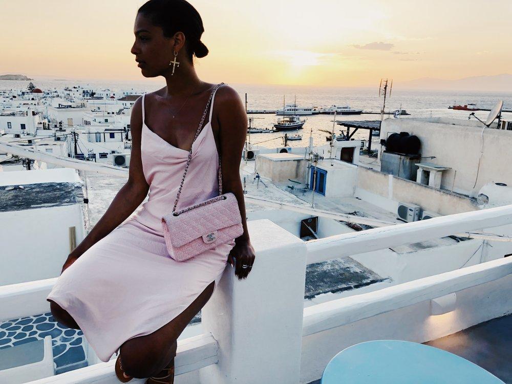 Topshop Slip Dress, Greek Sandals via the streets, Vintage Chanel pink tweed bag.