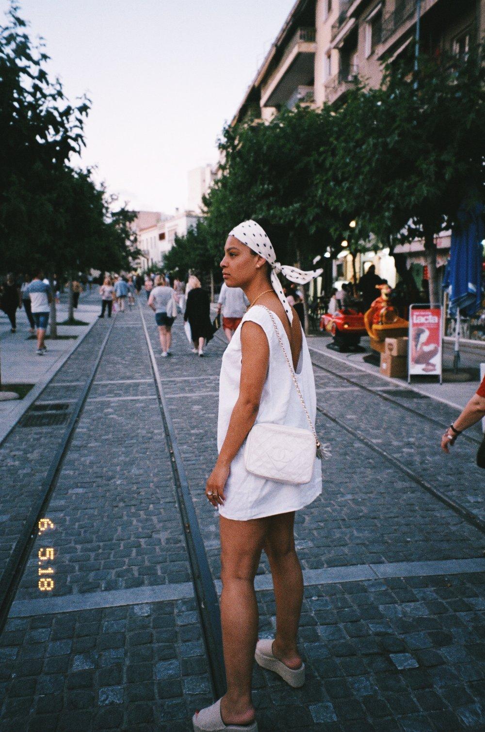 Wearing Reformation Dress, Zara Platforms & Headscarf, Vintage Chanel Camera Bag.