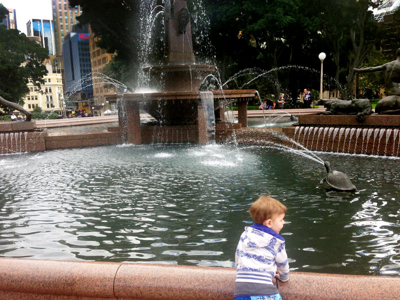 James admiring the fountain at Hyde Park.