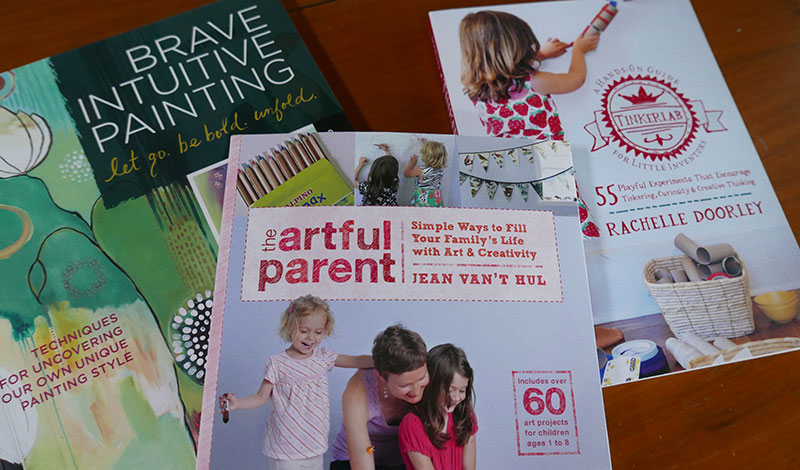 Brave Intuitive Painting by Flora Bowley; The Artful Parent by Jean Van't Hul and Tinkerlab by Rachelle Doorley
