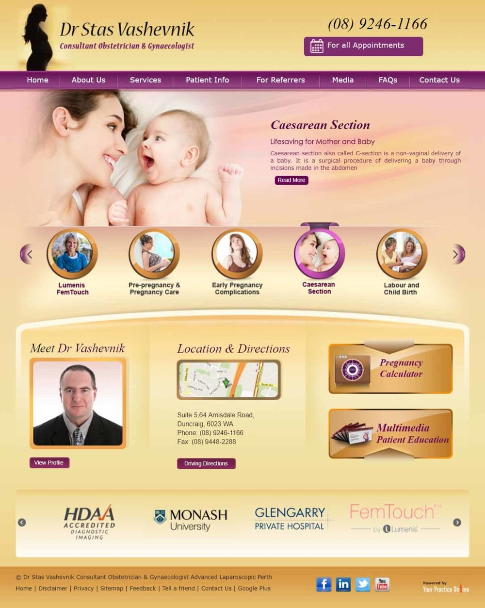 Perth Consultant Obstetrician & Gynaecologist Website