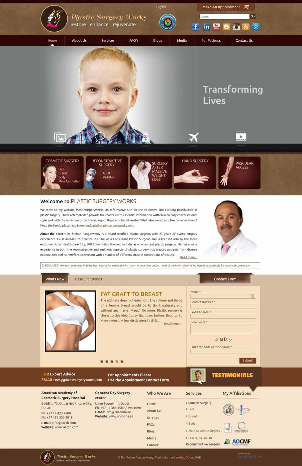 Dubai Cosmetic Surgeon Website