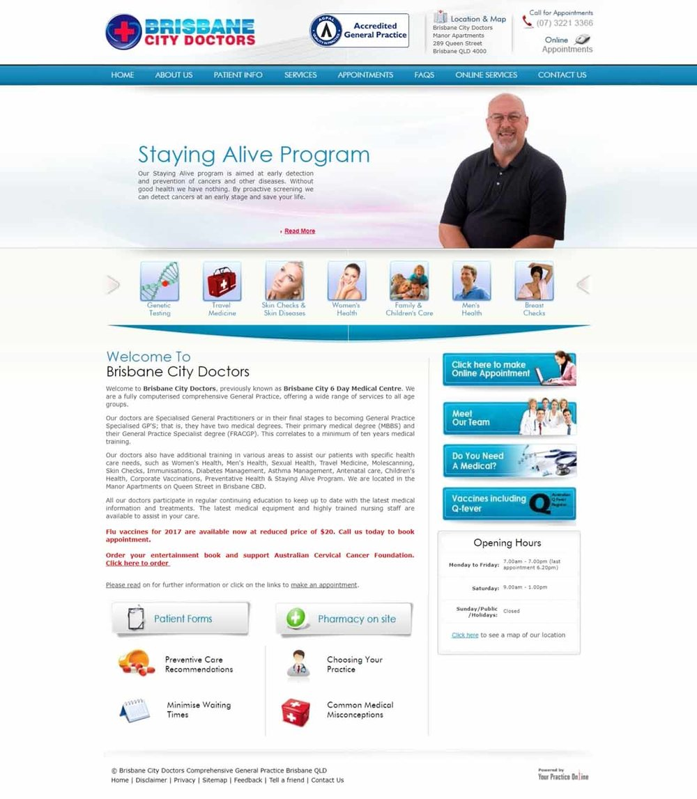 Brisbane Medical Centre Website