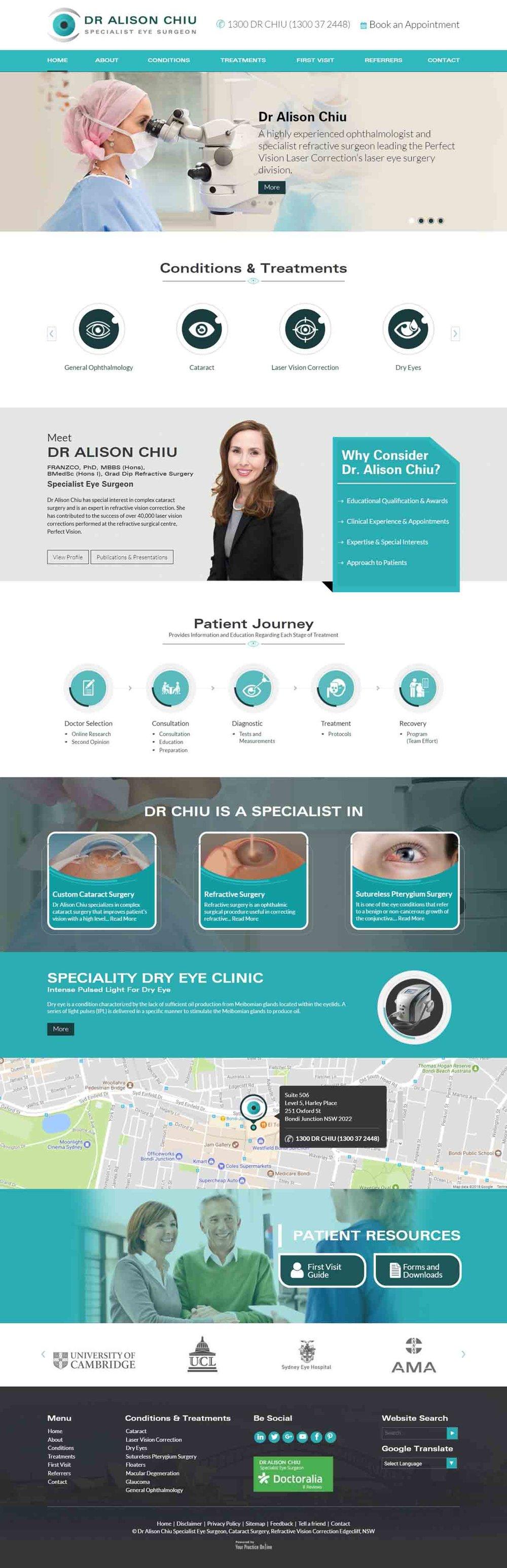Website for Specialist Eye Surgeon Sydney