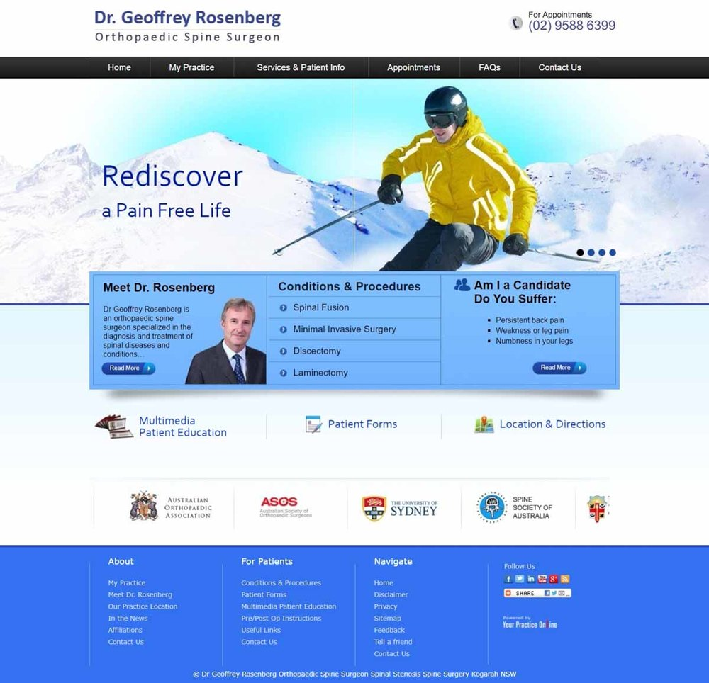 Website for Orthopaedic Spine Surgeon
