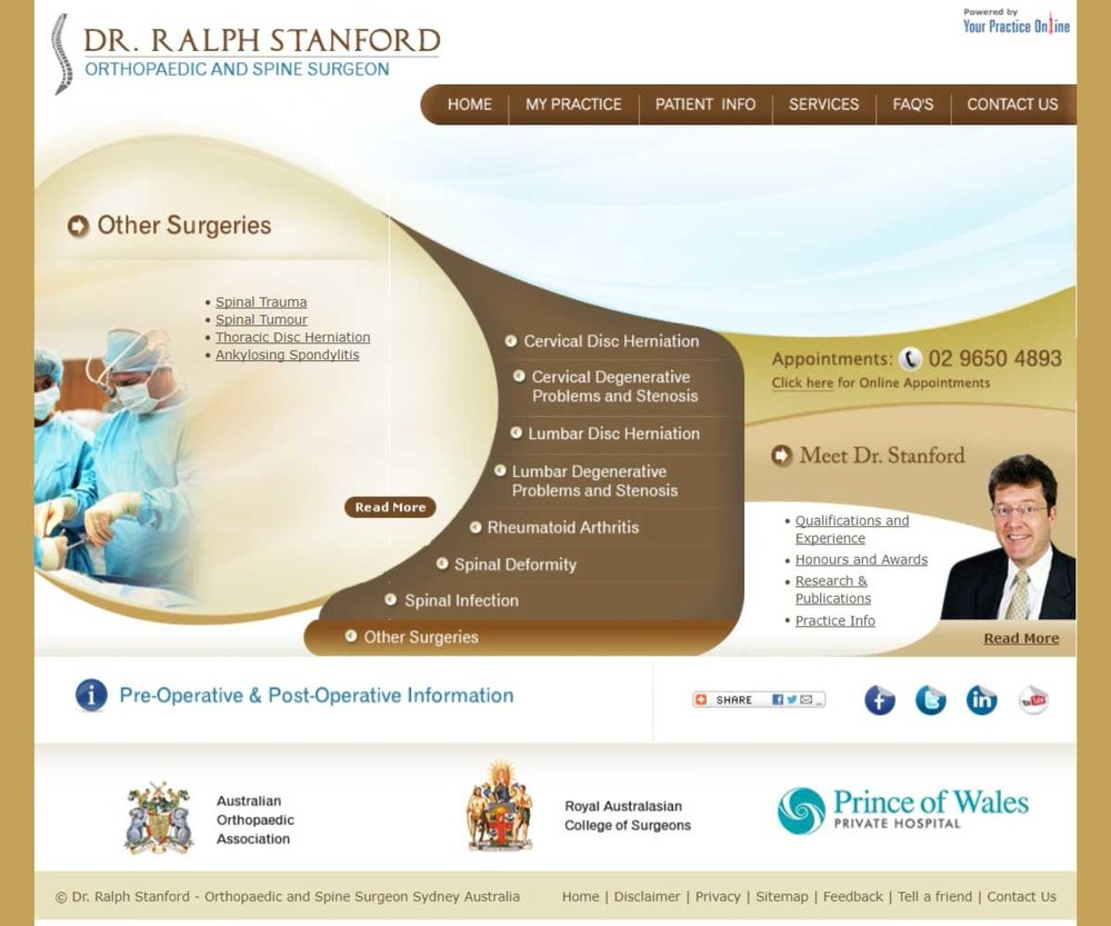 Orthopaedic & Spine Surgeon Website Sydney