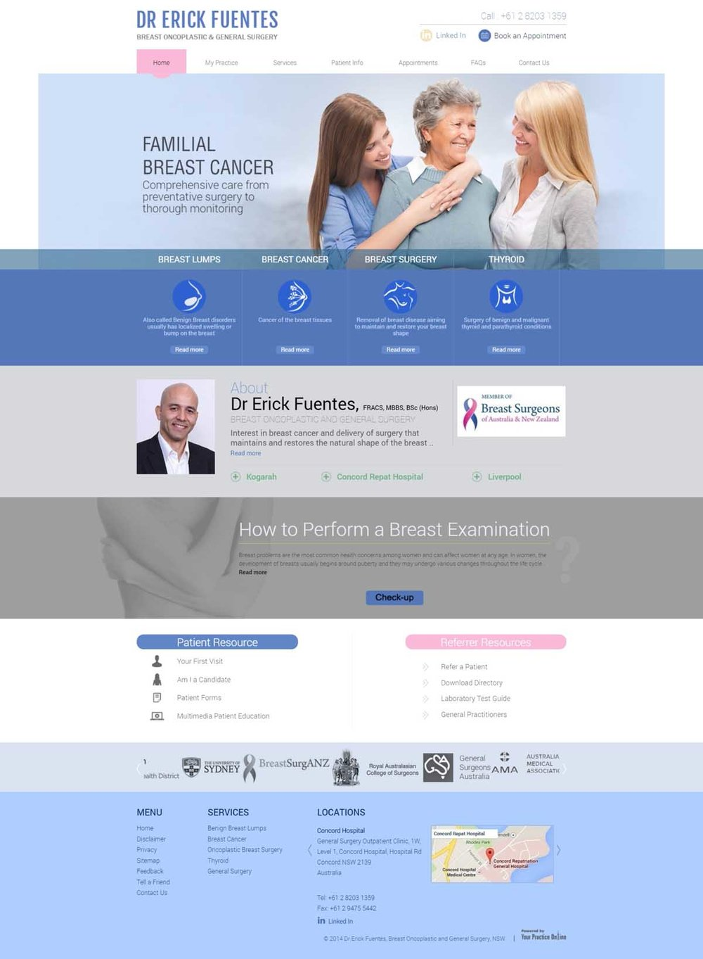 Breast Cancer & General Surgeon Website Sydney