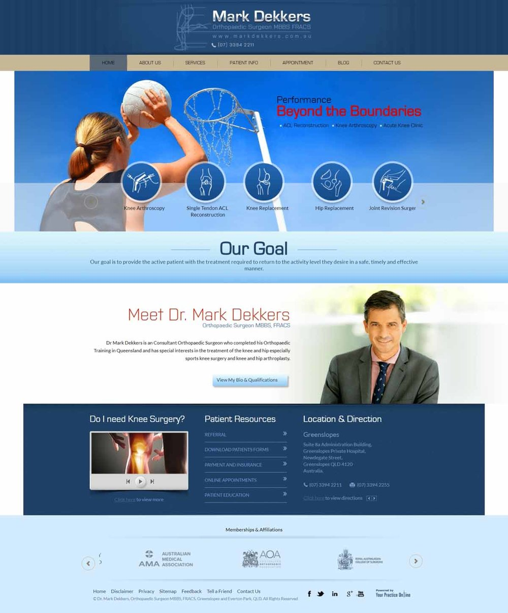 Website for Orthopaedic Hip Knee Surgeon