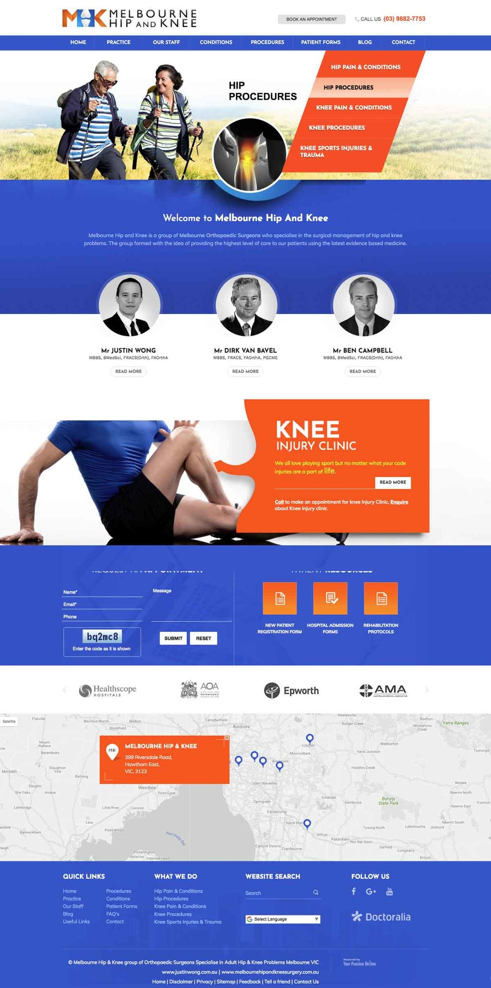 Website for Hip & Knee Orthopaedic Surgeon Melbourne