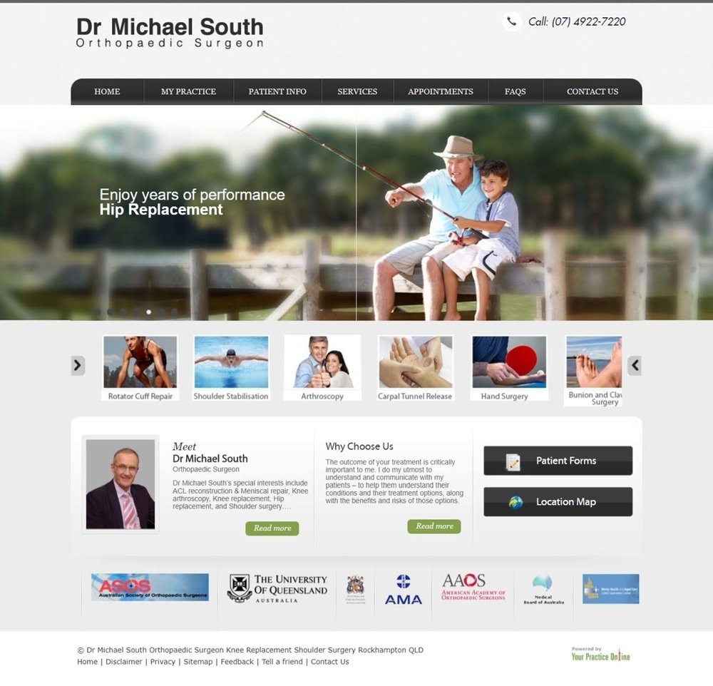 Orthopaedic Shoulder, Hip & Knee Surgeon Website