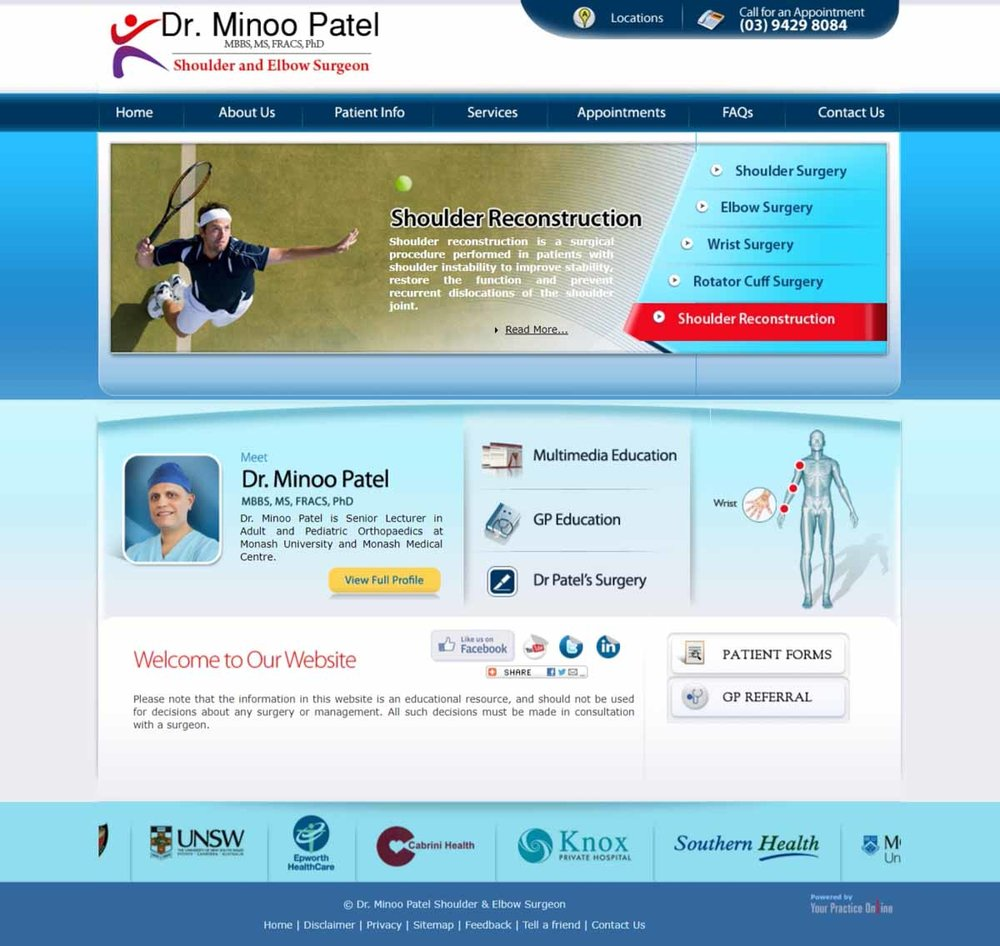 Shoulder & Elbow Orthopaedic Surgery Melbourne Website