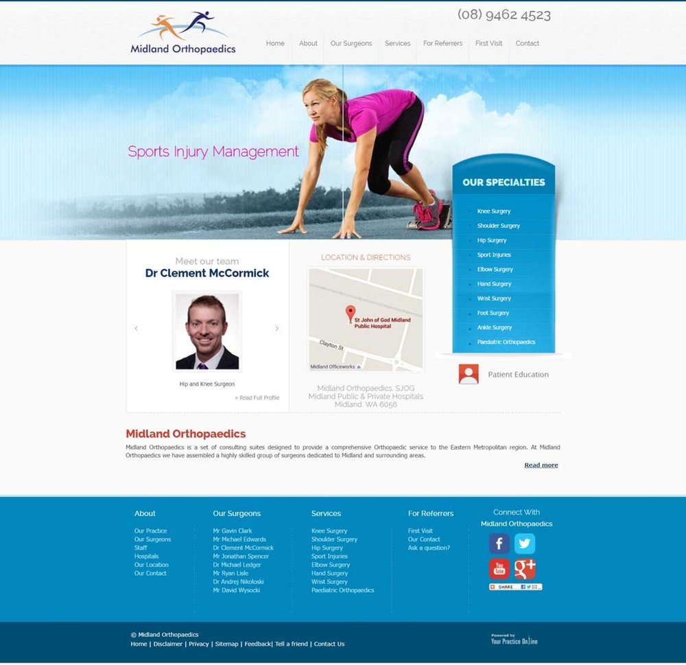 Perth Orthopaedic Surgeons Website