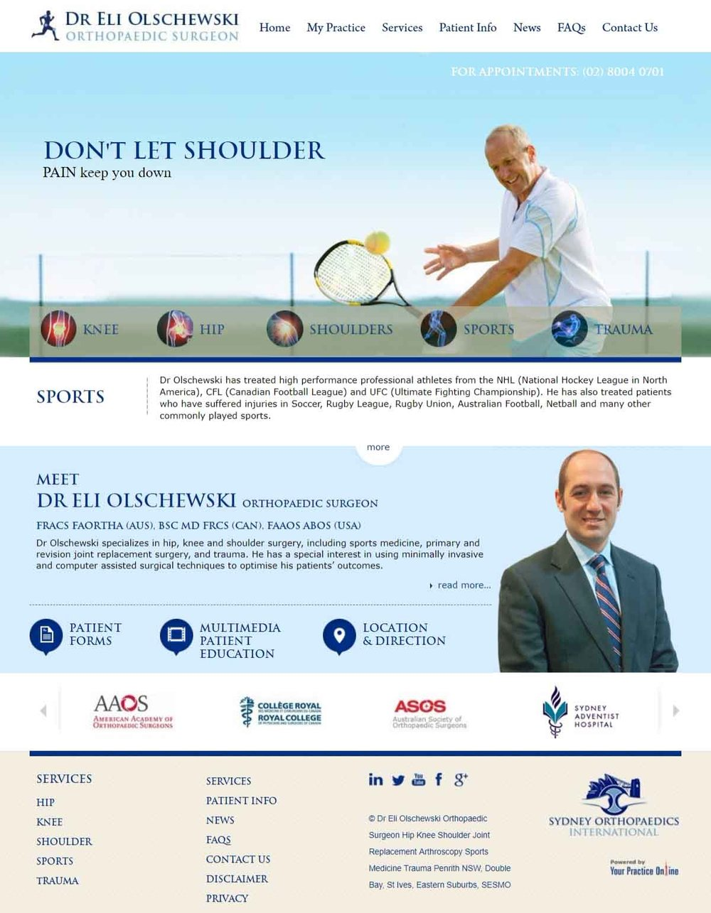 Shoulder Orthopaedic Surgeon Website Sydney