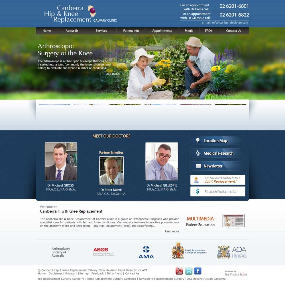 Website for Hip & Knee Replacement Surgery