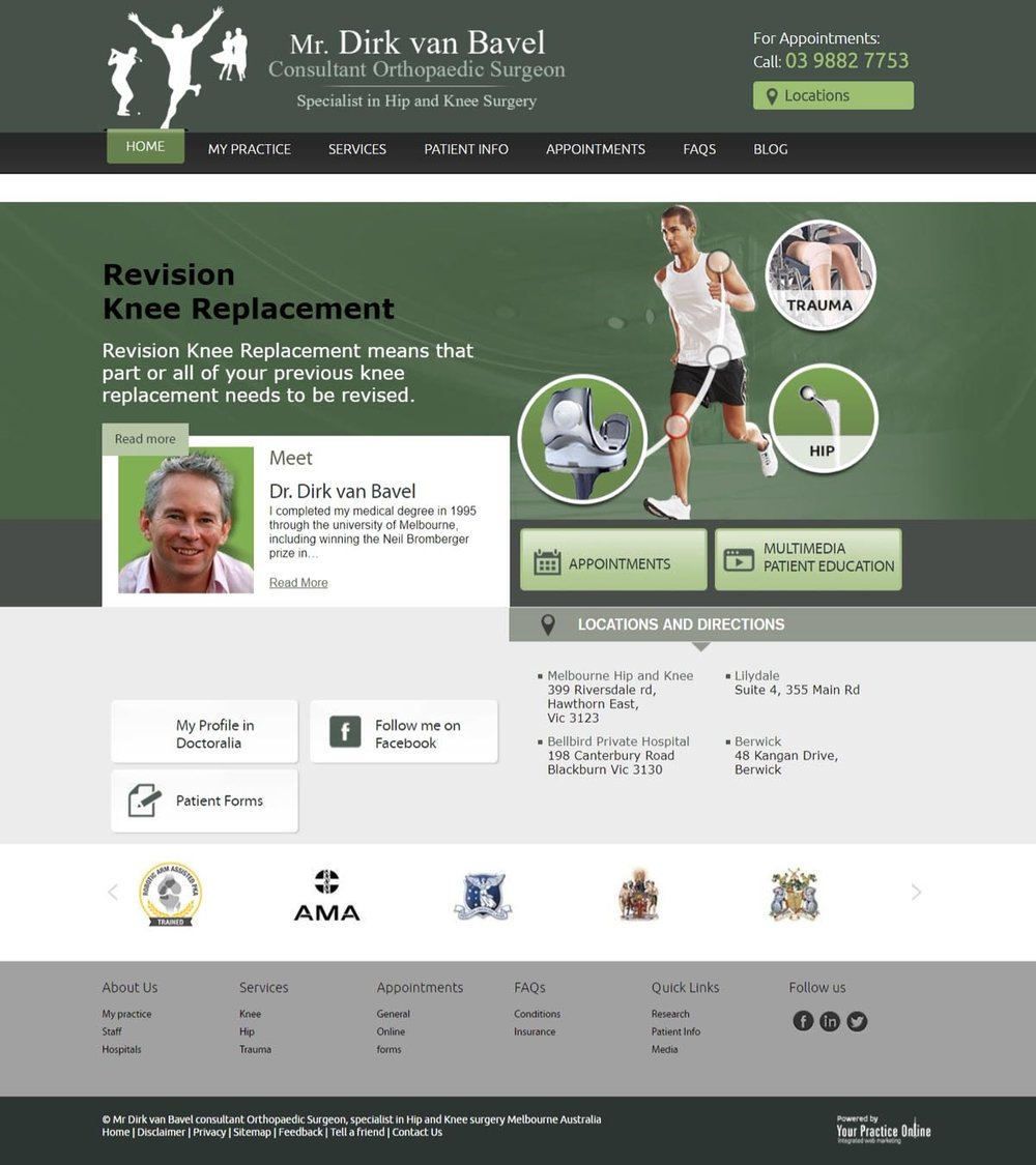 Melbourne Hip & Knee Replacement Surgeon Website