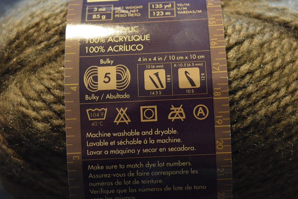 Click for a closeup of the fuzzy yarn label, crochet info is on the right!