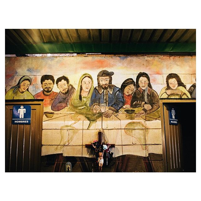 A painting of 'The Last Supper', inside the migrant shelter in Nogales, Mexico. #borderstories