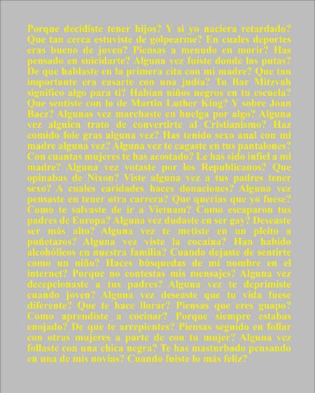 "Preguntas a Mi Padre, 2014, letterpress print, 17.5 x 13.5"""