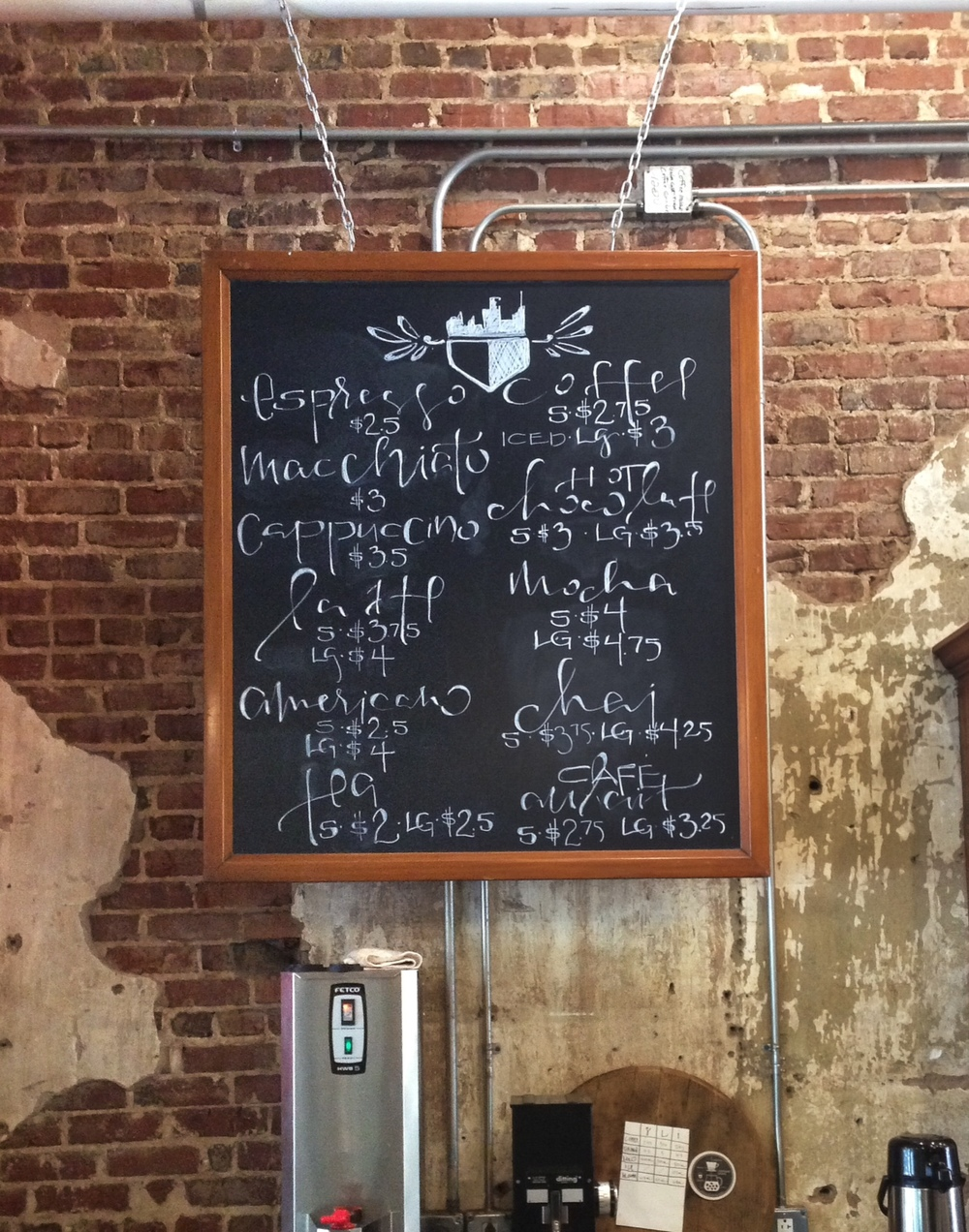 coffee menu at the beloved Urban Standard