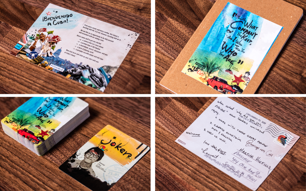 Additional deliverable detail shots, clockwise from upper left: welcome note, journal, back of postcard, deck of cards
