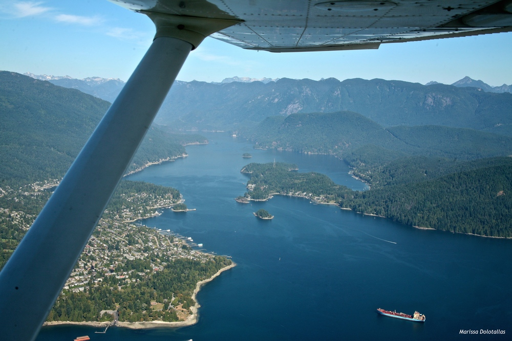 Flying over Howe Sound, BC