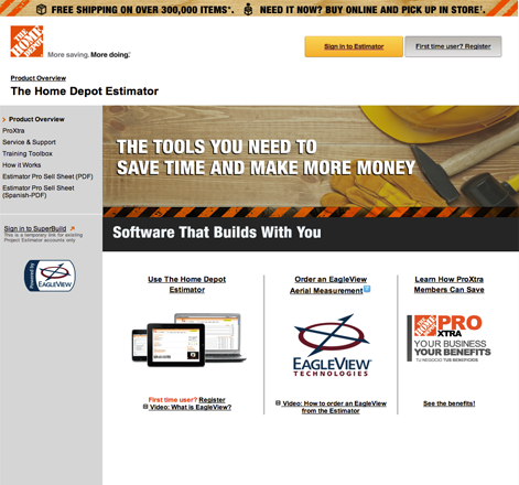 Home Depot Estimator by Eagleview