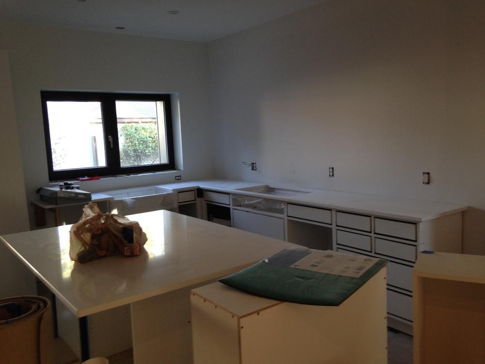 Kitchen counters! White quartz.
