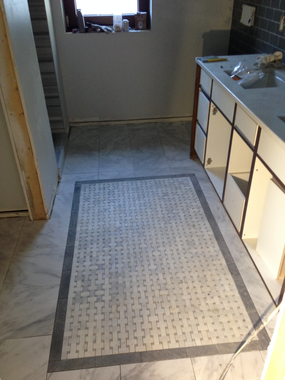 Basketweave inlay in master bath