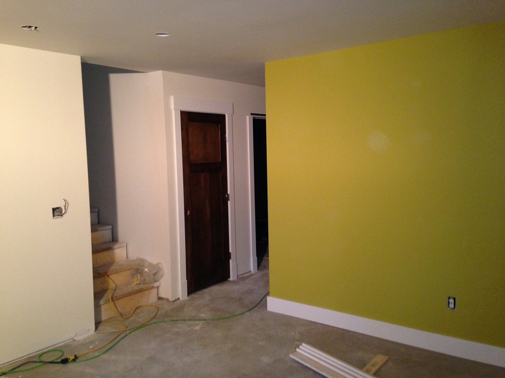 The basement is painted and getting trim