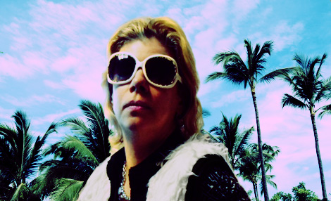 Lina gave me the sunglasses and photographed me in front of the office cubicles.. I removed the background, added another and edited the colors. Pretty sweet, yes?