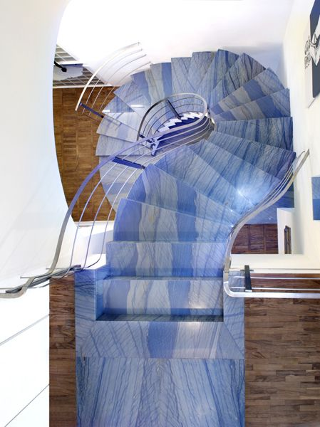 Azul Imperial Blue Quartzite Staircase