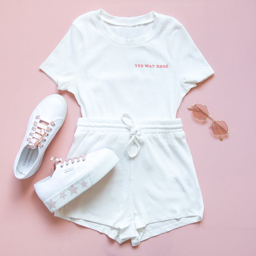Yes Way Rosé Top - White, Yes Way Rosé Shorts - White, Superga x Peppermayo Exclusive (1).jpg