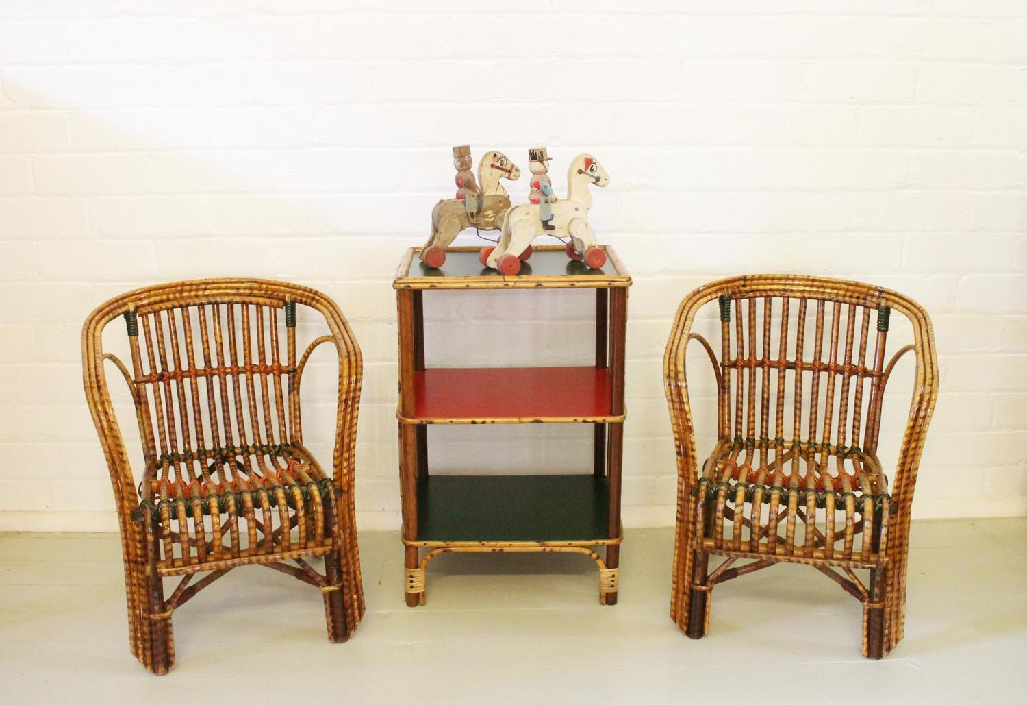 Vintage Cane Chairs.jpg - Pair Of Vintage Cane Children's Chairs — Antiques Industrial