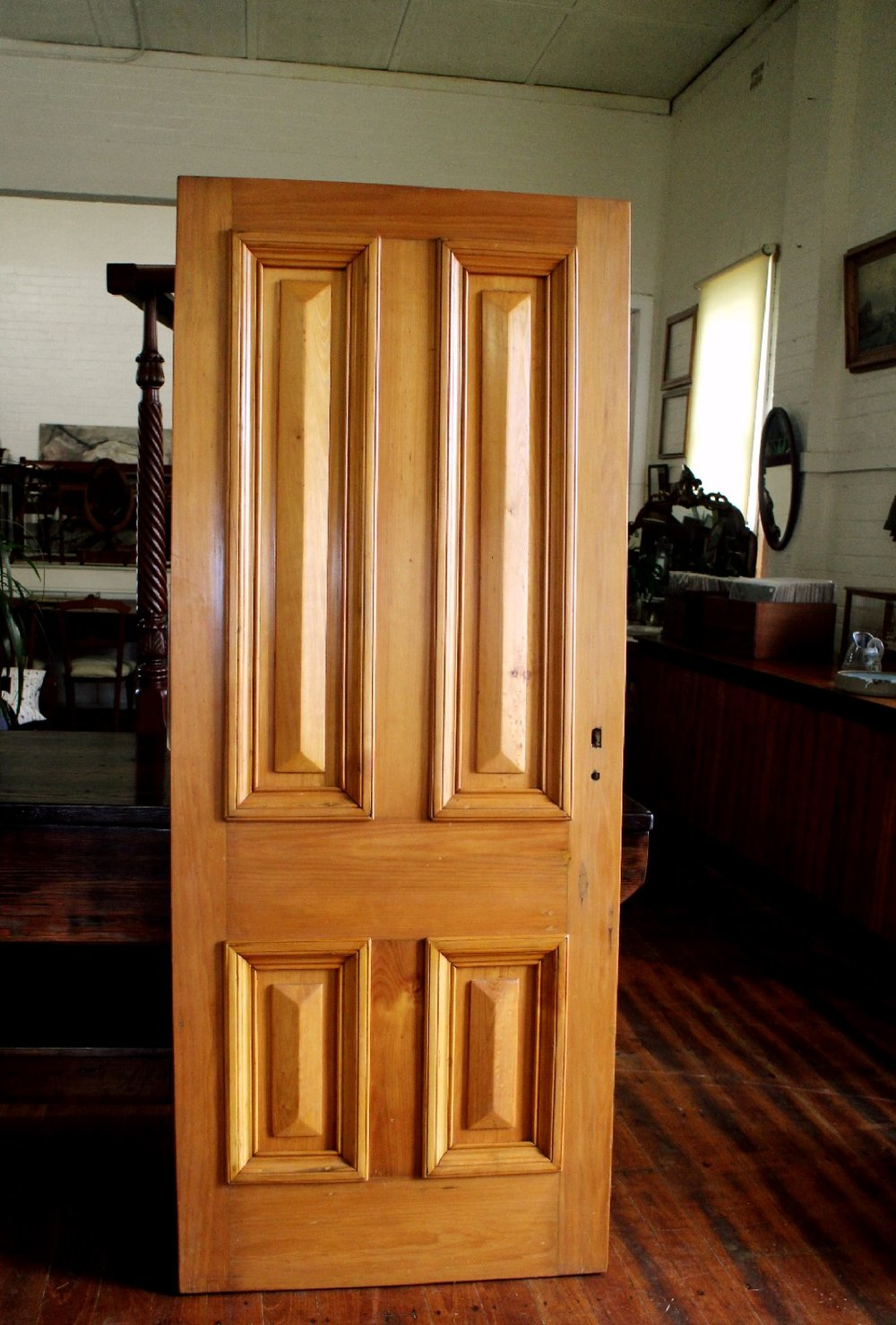 A beautiful Hoop Pine Front Door , ex the Station Master's Residence Murwillumbah ,northern NSW , built in 1894 .  This door is in great condition having had a detailed restoration . 2080mm x 840mm x 40mm thick  $2850